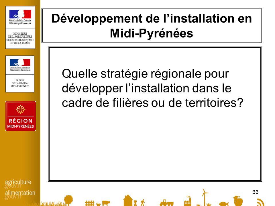 36 Développement de linstallation en Midi-Pyrénées Quelle stratégie régionale pour développer linstallation dans le cadre de filières ou de territoire