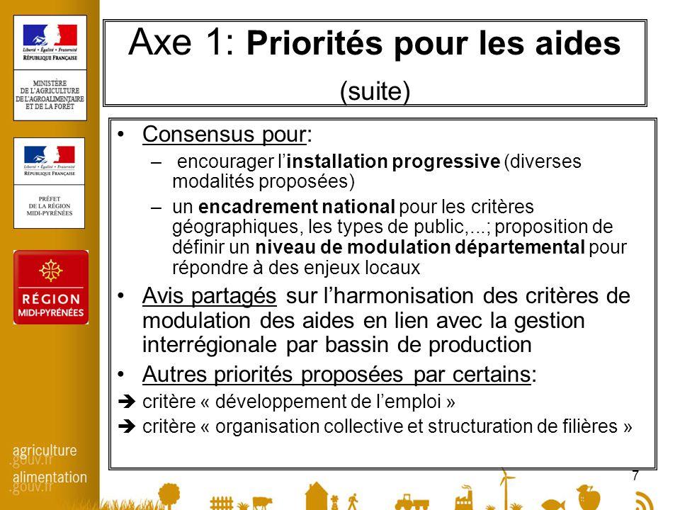 7 Axe 1: Priorités pour les aides (suite) Consensus pour: – encourager linstallation progressive (diverses modalités proposées) –un encadrement nation