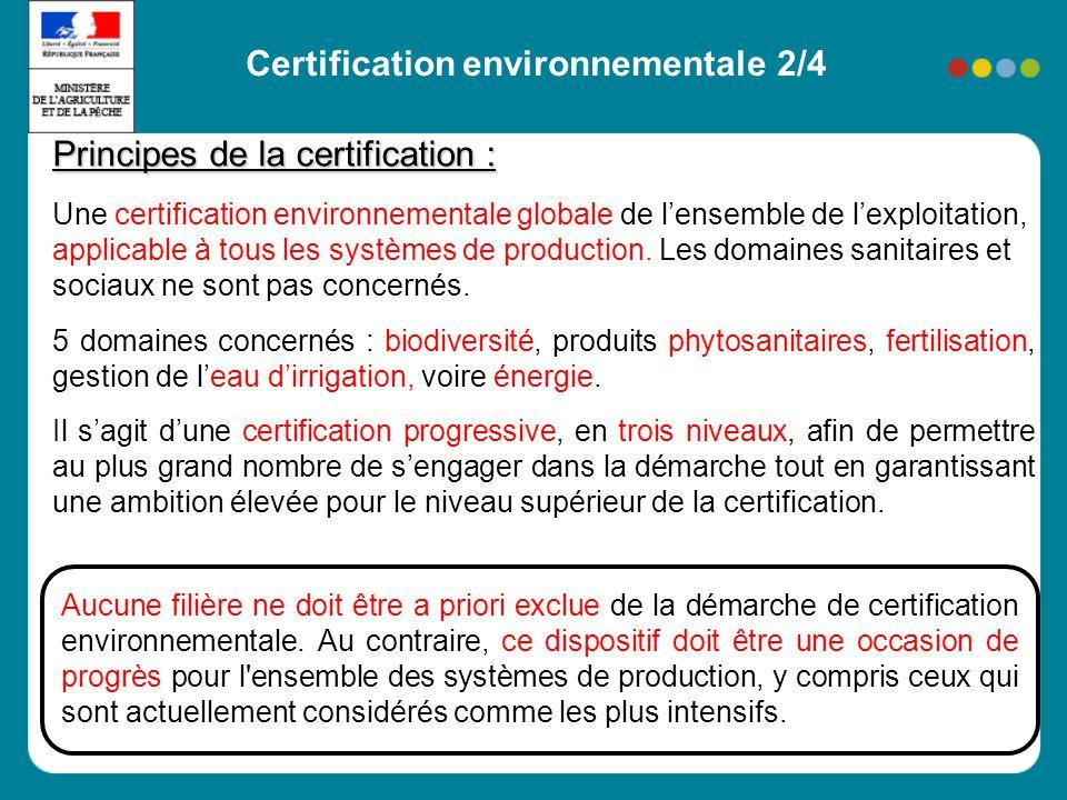 Principes de la certification : Une certification environnementale globale de lensemble de lexploitation, applicable à tous les systèmes de production.