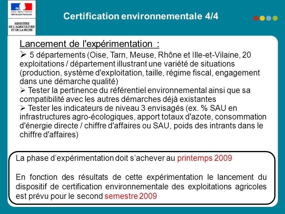 Certification environnementale 3/4 Organisation du dispositif en 3 niveaux : Niveau 1 : pré-requis pour la certification Respect de la conditionnalité