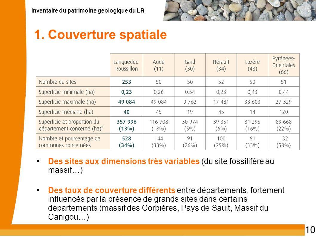 Inventaire du patrimoine géologique du LR 10 1. Couverture spatiale Des sites aux dimensions très variables (du site fossilifère au massif…) Des taux