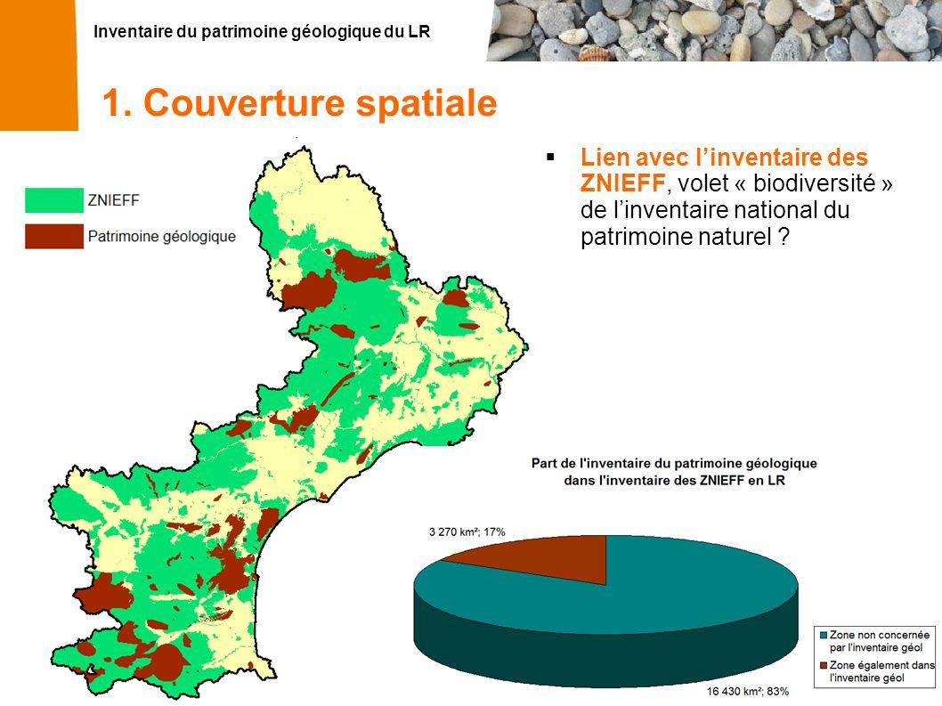 Inventaire du patrimoine géologique du LR 14 1. Couverture spatiale Lien avec linventaire des ZNIEFF Lien avec linventaire des ZNIEFF, volet « biodive