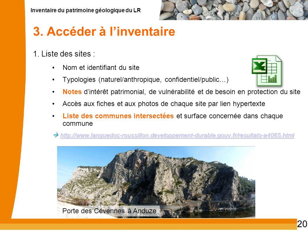 Inventaire du patrimoine géologique du LR 20 3. Accéder à linventaire 1. Liste des sites : Nom et identifiant du site Typologies (naturel/anthropique,