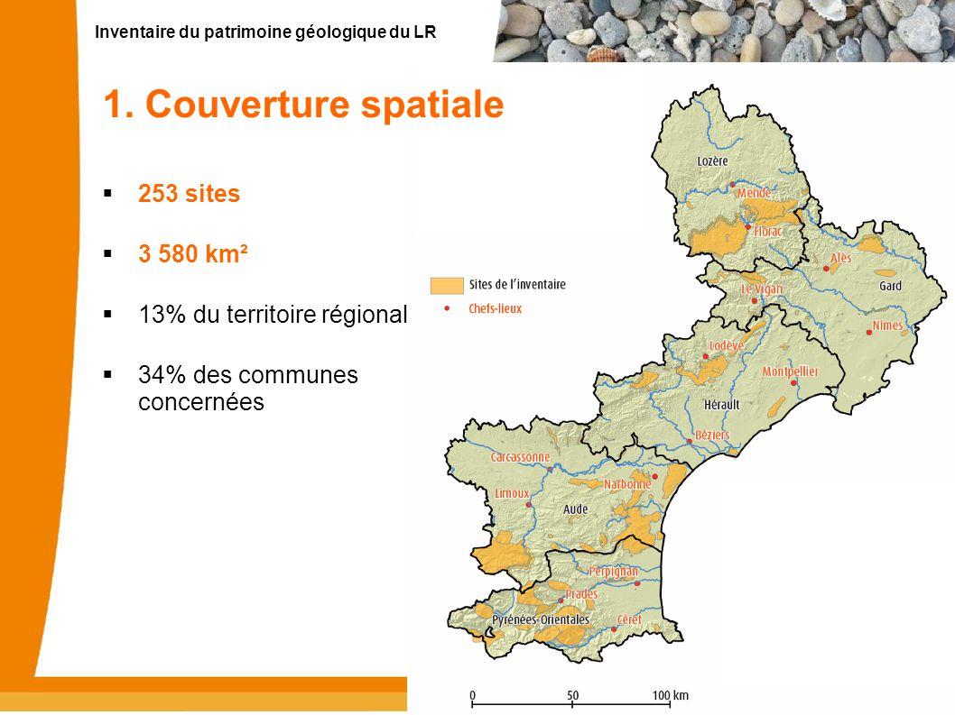 Inventaire du patrimoine géologique du LR 3 1. Couverture spatiale 253 sites 3 580 km² 13% du territoire régional 34% des communes concernées