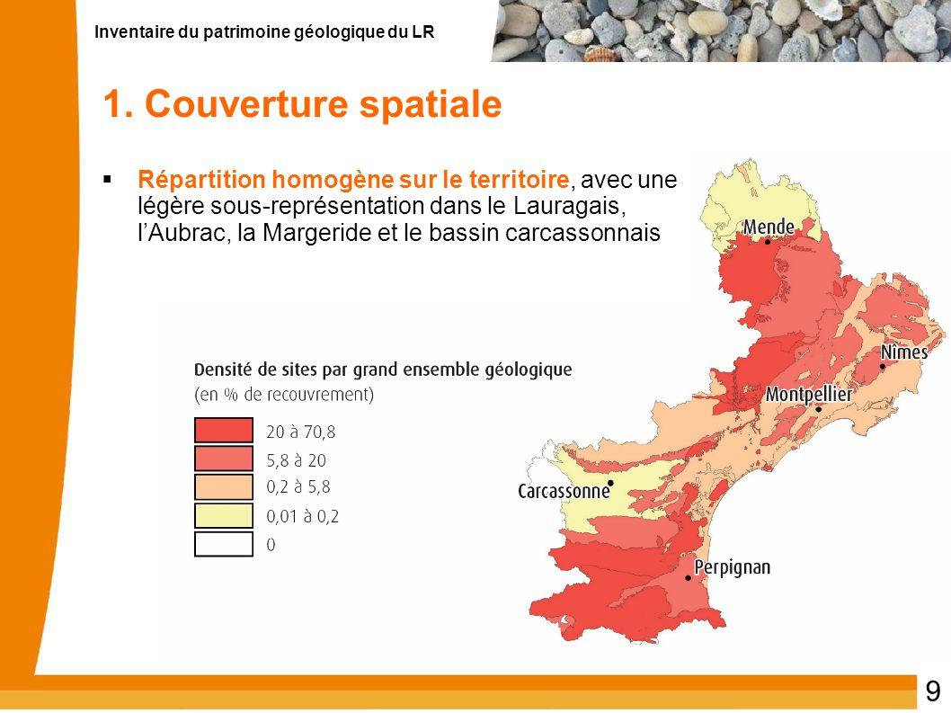Inventaire du patrimoine géologique du LR 9 1. Couverture spatiale Répartition homogène sur le territoire, avec une légère sous-représentation dans le