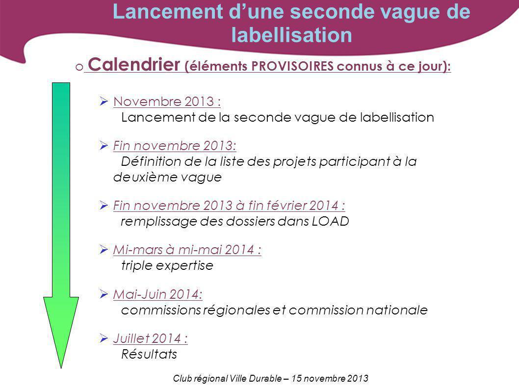Club régional Ville Durable – 15 novembre 2013 Lancement dune seconde vague de labellisation o Calendrier (éléments PROVISOIRES connus à ce jour): Nov