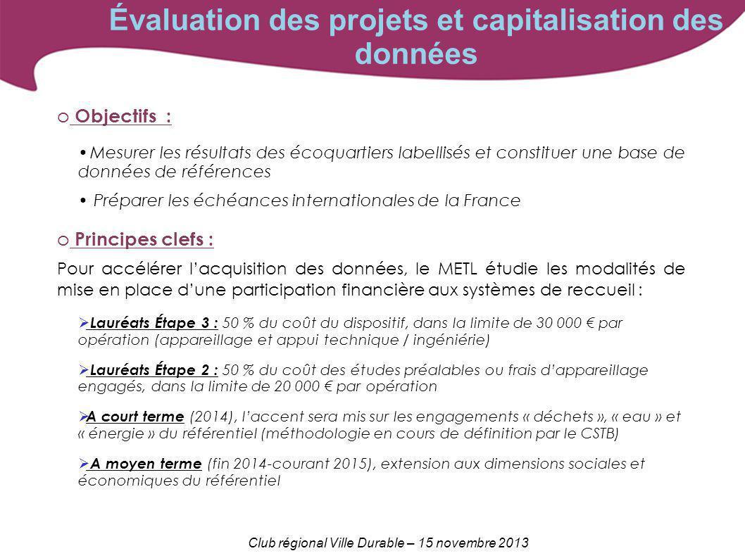 Club régional Ville Durable – 15 novembre 2013 o Objectifs : Mesurer les résultats des écoquartiers labellisés et constituer une base de données de ré