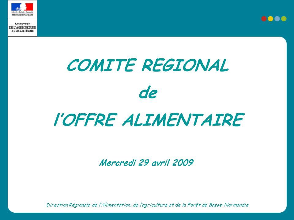 COMITE REGIONAL de lOFFRE ALIMENTAIRE Direction Régionale de lAlimentation, de lagriculture et de la Forêt de Basse-Normandie Mercredi 29 avril 2009