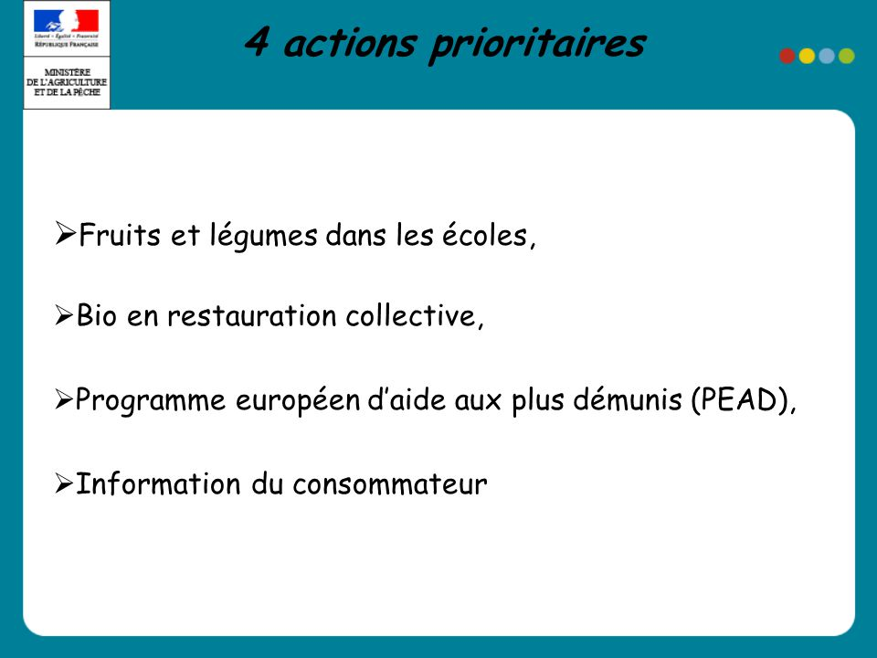 Fruits et légumes dans les écoles, Bio en restauration collective, Programme européen daide aux plus démunis (PEAD), Information du consommateur 4 actions prioritaires