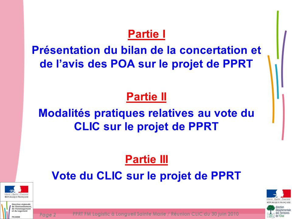 Page 2 PPRT FM Logistic à Longueil Sainte Marie / Réunion CLIC du 30 juin 2010 Partie I Présentation du bilan de la concertation et de lavis des POA sur le projet de PPRT Partie II Modalités pratiques relatives au vote du CLIC sur le projet de PPRT Partie III Vote du CLIC sur le projet de PPRT