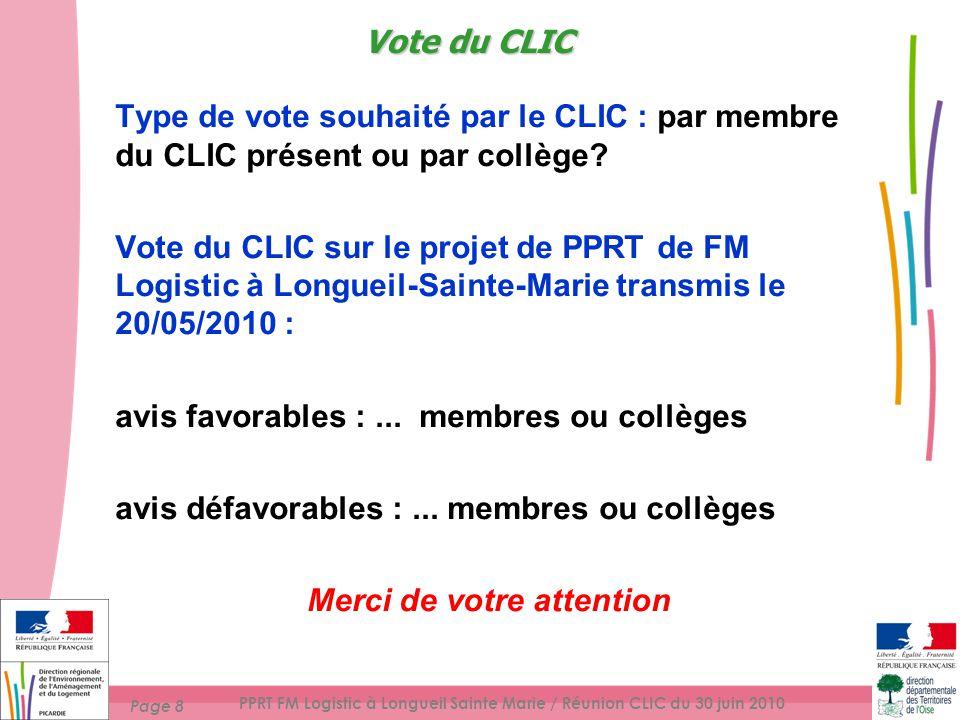 Page 8 PPRT FM Logistic à Longueil Sainte Marie / Réunion CLIC du 30 juin 2010 Type de vote souhaité par le CLIC : par membre du CLIC présent ou par collège.