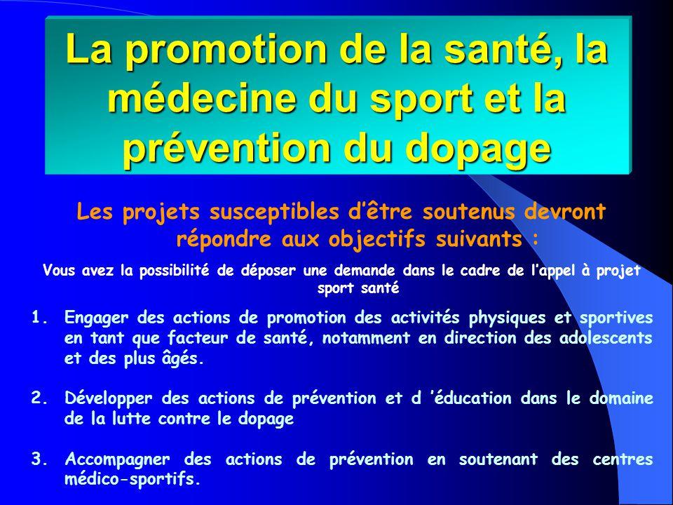 Les projets susceptibles dêtre soutenus devront répondre aux objectifs suivants : Vous avez la possibilité de déposer une demande dans le cadre de lappel à projet sport santé 1.