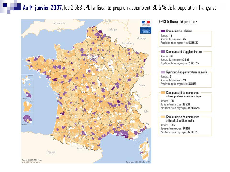 Au 1 er janvier 2007, les 2 588 EPCI à fiscalité propre rassemblent 86,5 % de la population française