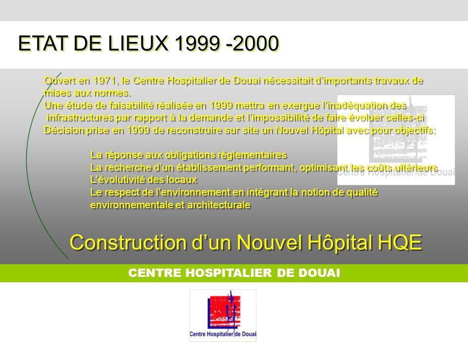 CENTRE HOSPITALIER DE DOUAI ETAT DE LIEUX 1999 -2000 Ouvert en 1971, le Centre Hospitalier de Douai nécessitait dimportants travaux de mises aux norme