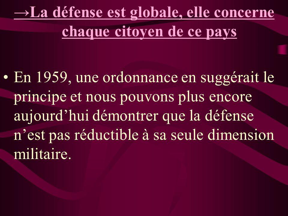 La défense est globale, elle concerne chaque citoyen de ce pays En 1959, une ordonnance en suggérait le principe et nous pouvons plus encore aujourdhu