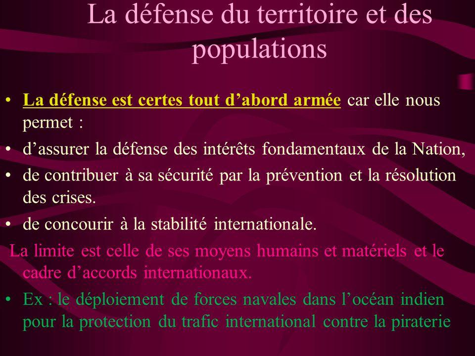 La défense du territoire et des populations La défense est certes tout dabord armée car elle nous permet : dassurer la défense des intérêts fondamenta