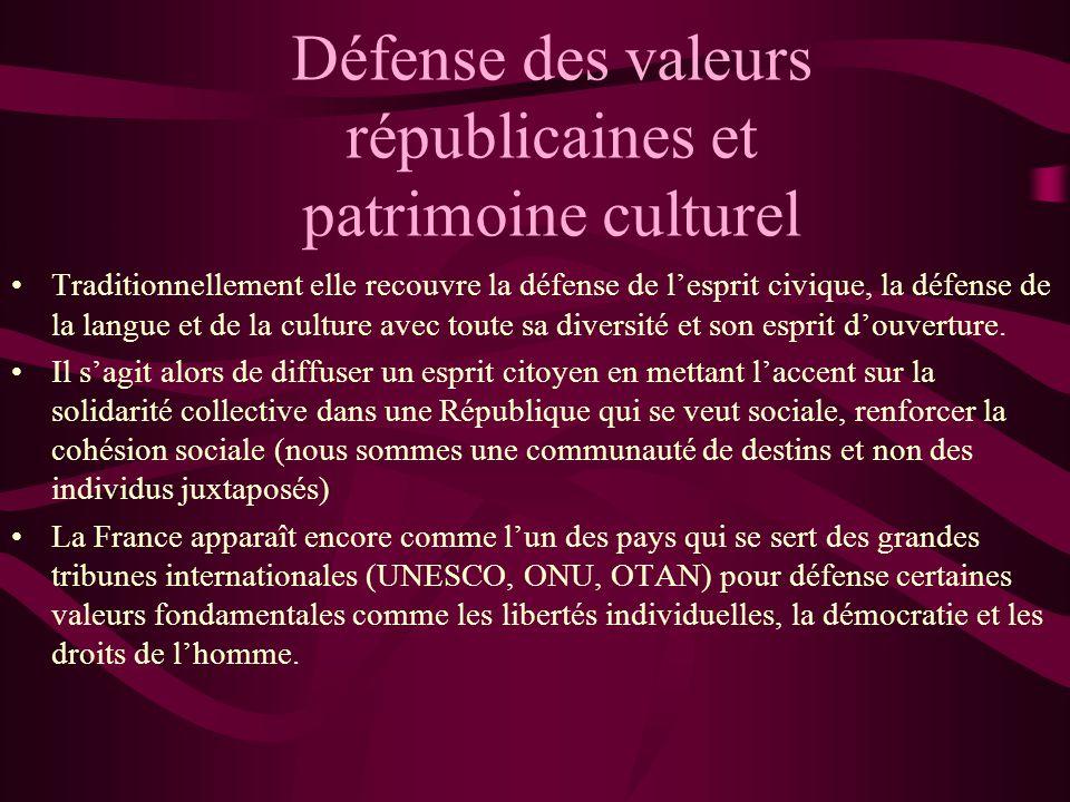 Défense des valeurs républicaines et patrimoine culturel Traditionnellement elle recouvre la défense de lesprit civique, la défense de la langue et de
