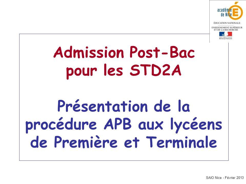 SAIO Nice - Février 2013 Admission Post-Bac pour les STD2A Présentation de la procédure APB aux lycéens de Première et Terminale