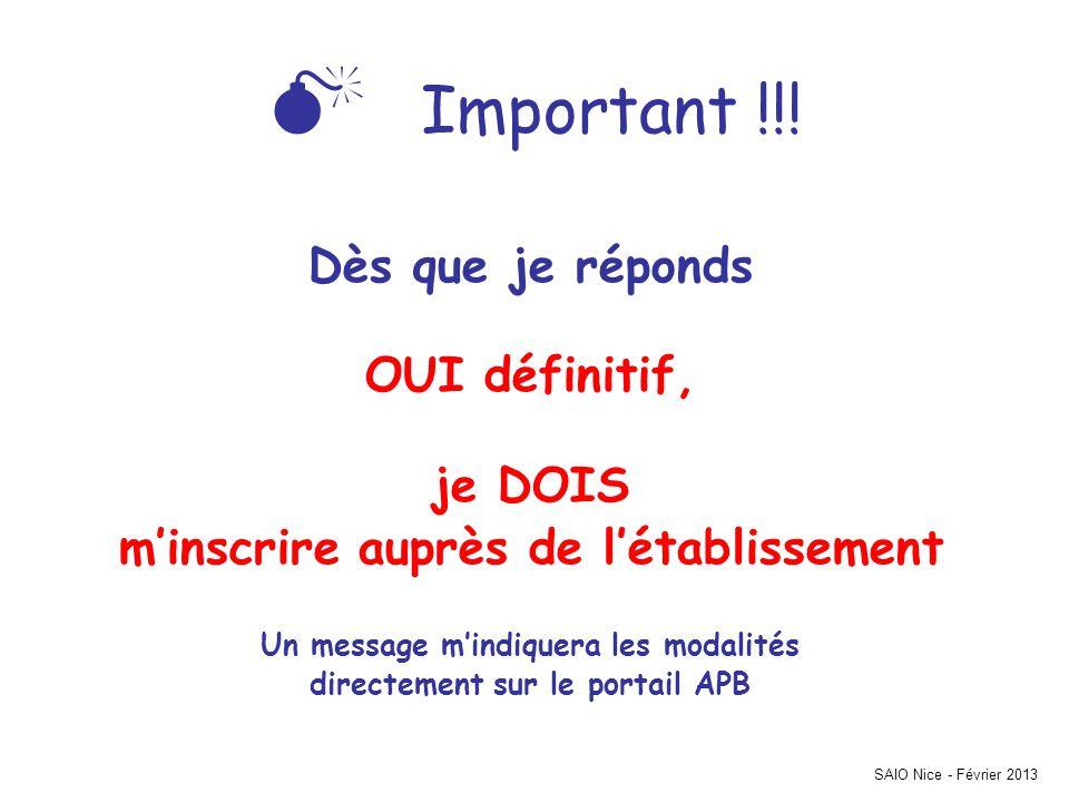 SAIO Nice - Février 2013 Important !!.