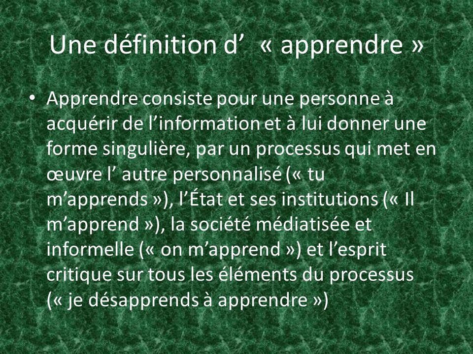 Une définition d « apprendre » Apprendre consiste pour une personne à acquérir de linformation et à lui donner une forme singulière, par un processus qui met en œuvre l autre personnalisé (« tu mapprends »), lÉtat et ses institutions (« Il mapprend »), la société médiatisée et informelle (« on mapprend ») et lesprit critique sur tous les éléments du processus (« je désapprends à apprendre »)