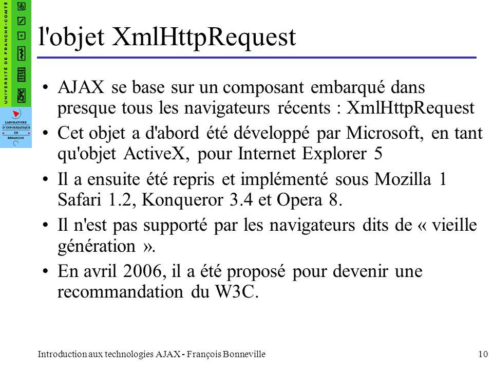 Introduction aux technologies AJAX - François Bonneville10 l objet XmlHttpRequest AJAX se base sur un composant embarqué dans presque tous les navigateurs récents : XmlHttpRequest Cet objet a d abord été développé par Microsoft, en tant qu objet ActiveX, pour Internet Explorer 5 Il a ensuite été repris et implémenté sous Mozilla 1 Safari 1.2, Konqueror 3.4 et Opera 8.