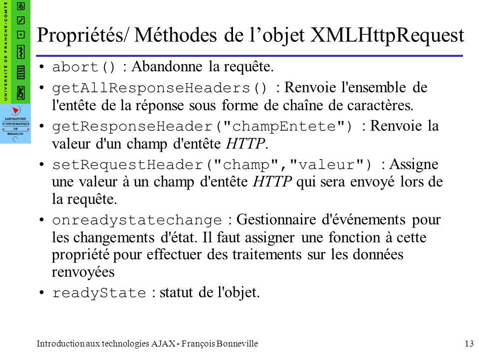 Introduction aux technologies AJAX - François Bonneville13 Propriétés/ Méthodes de lobjet XMLHttpRequest abort() : Abandonne la requête.