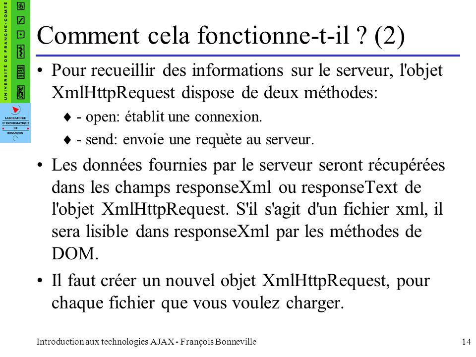 Introduction aux technologies AJAX - François Bonneville14 Comment cela fonctionne-t-il .