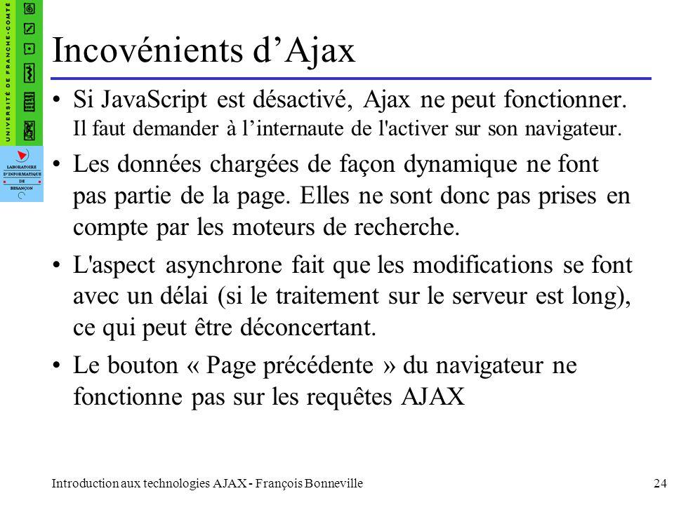 Introduction aux technologies AJAX - François Bonneville24 Incovénients dAjax Si JavaScript est désactivé, Ajax ne peut fonctionner.