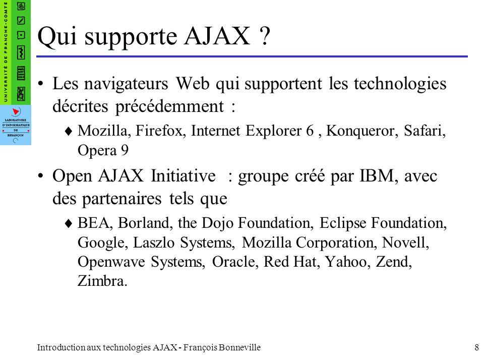 Introduction aux technologies AJAX - François Bonneville8 Qui supporte AJAX .