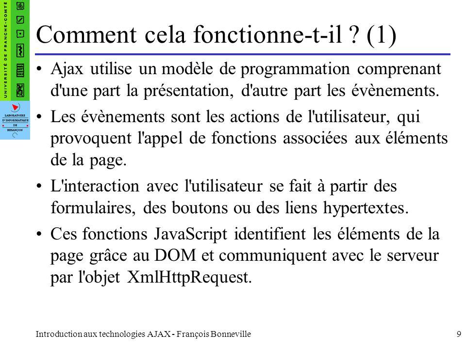 Introduction aux technologies AJAX - François Bonneville9 Ajax utilise un modèle de programmation comprenant d une part la présentation, d autre part les évènements.