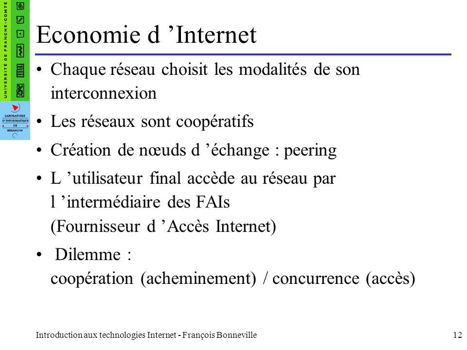 Introduction aux technologies Internet - François Bonneville12 Economie d Internet Chaque réseau choisit les modalités de son interconnexion Les résea