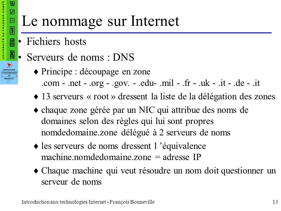 Introduction aux technologies Internet - François Bonneville13 Le nommage sur Internet Fichiers hosts Serveurs de noms : DNS Principe : découpage en z