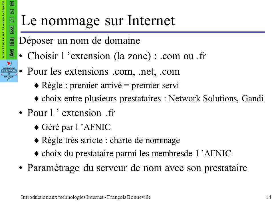 Introduction aux technologies Internet - François Bonneville14 Le nommage sur Internet Déposer un nom de domaine Choisir l extension (la zone) :.com o