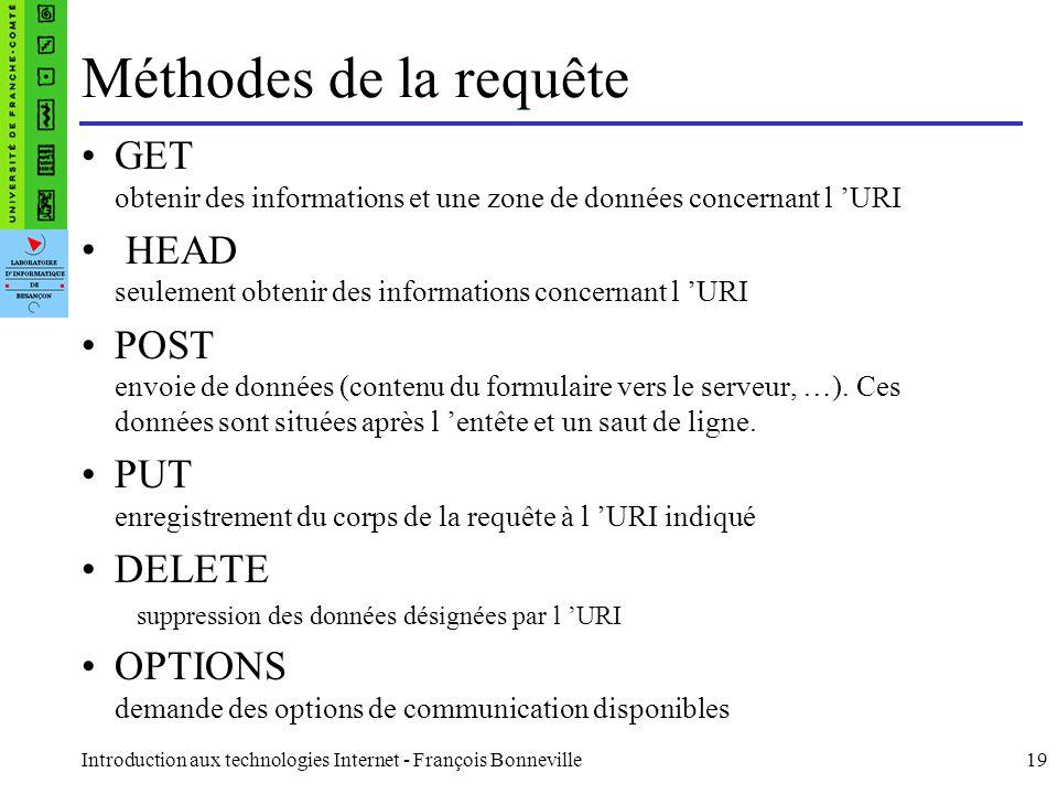Introduction aux technologies Internet - François Bonneville19 Méthodes de la requête GET obtenir des informations et une zone de données concernant l