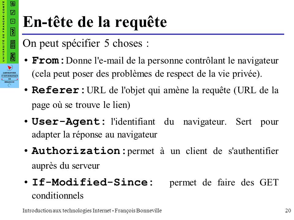 Introduction aux technologies Internet - François Bonneville20 En-tête de la requête On peut spécifier 5 choses : From: Donne l'e-mail de la personne