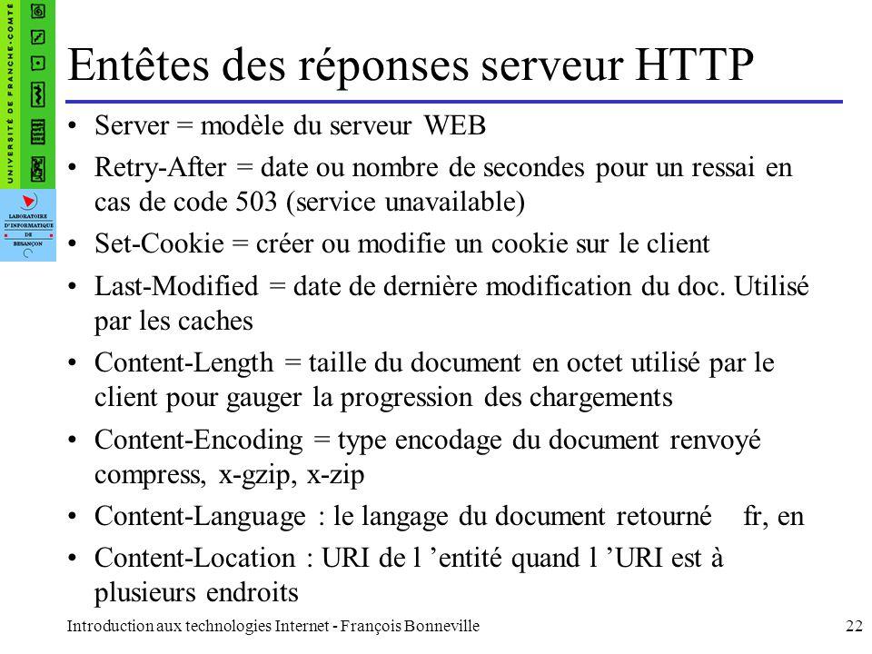 Introduction aux technologies Internet - François Bonneville22 Entêtes des réponses serveur HTTP Server = modèle du serveur WEB Retry-After = date ou
