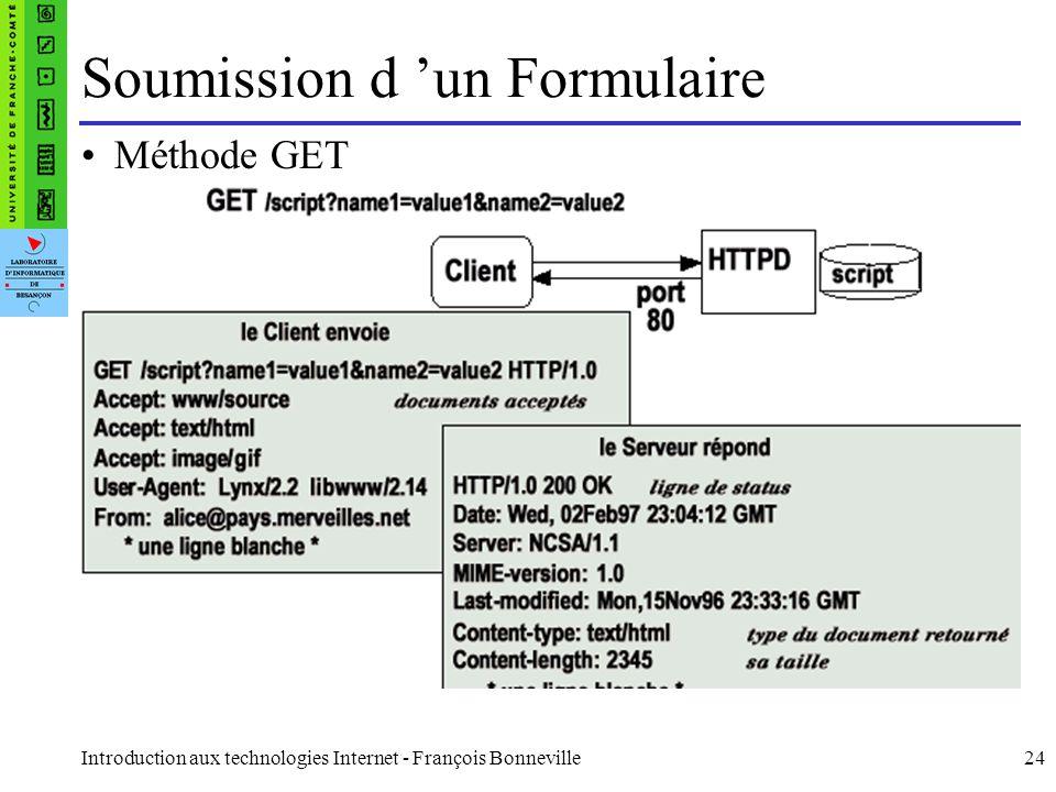 Introduction aux technologies Internet - François Bonneville24 Soumission d un Formulaire Méthode GET