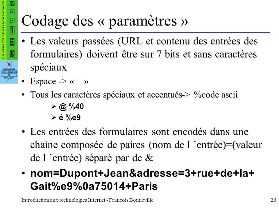 Introduction aux technologies Internet - François Bonneville26 Codage des « paramètres » Les valeurs passées (URL et contenu des entrées des formulair