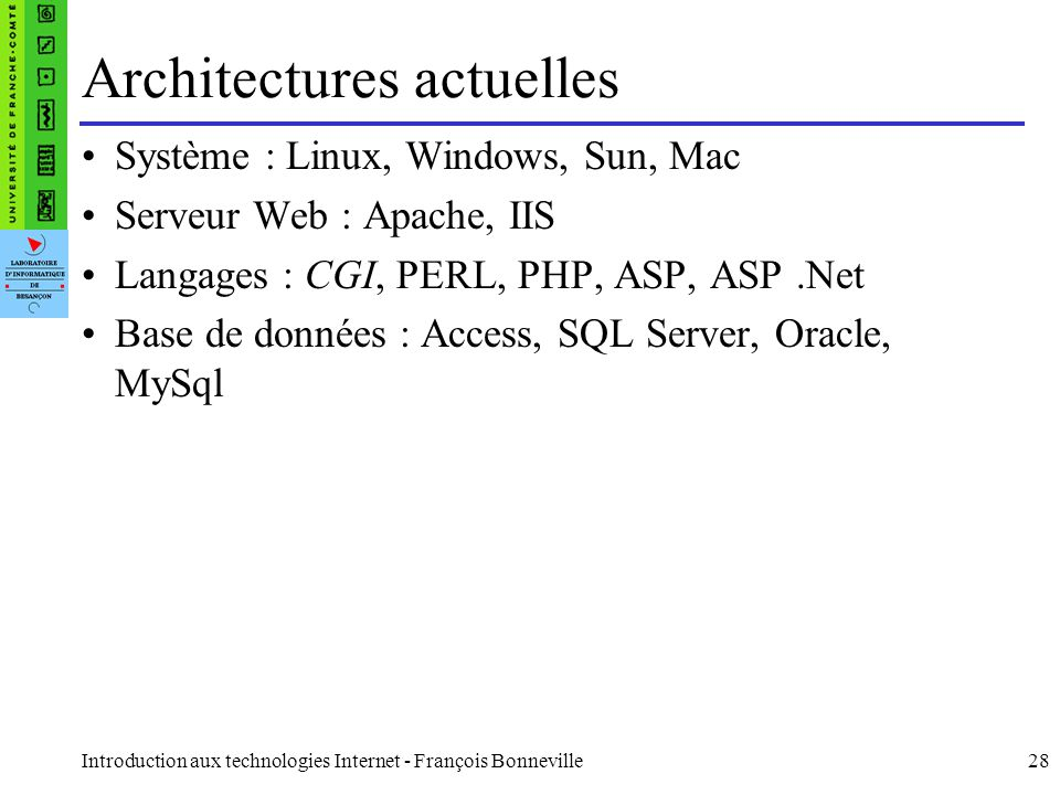 Introduction aux technologies Internet - François Bonneville28 Architectures actuelles Système : Linux, Windows, Sun, Mac Serveur Web : Apache, IIS La