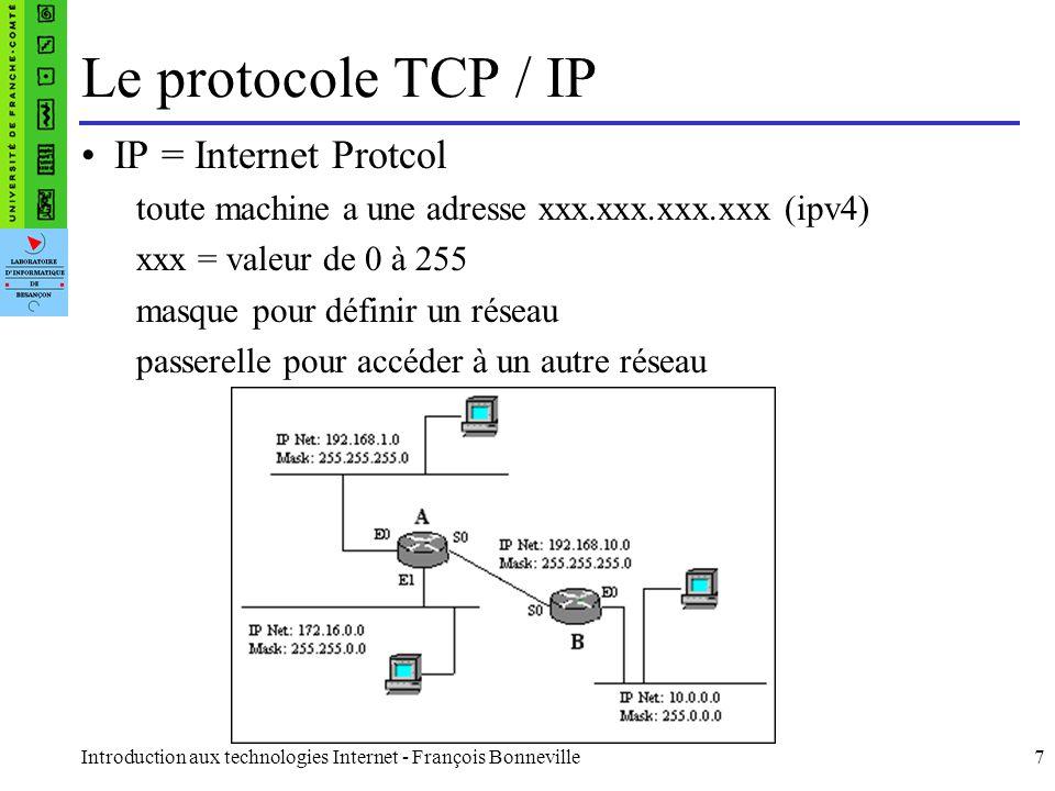 Introduction aux technologies Internet - François Bonneville7 IP = Internet Protcol toute machine a une adresse xxx.xxx.xxx.xxx (ipv4) xxx = valeur de
