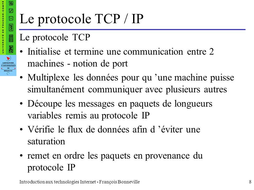 Introduction aux technologies Internet - François Bonneville19 Méthodes de la requête GET obtenir des informations et une zone de données concernant l URI HEAD seulement obtenir des informations concernant l URI POST envoie de données (contenu du formulaire vers le serveur, …).