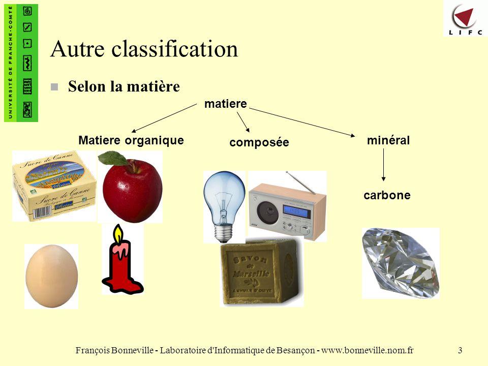 François Bonneville - Laboratoire d'Informatique de Besançon - www.bonneville.nom.fr3 Autre classification n Selon la matière matiere Matiere organiqu