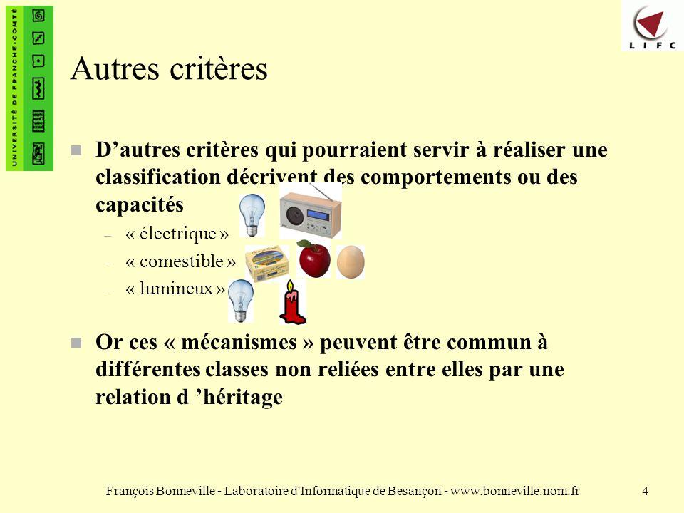 François Bonneville - Laboratoire d'Informatique de Besançon - www.bonneville.nom.fr4 Autres critères n Dautres critères qui pourraient servir à réali