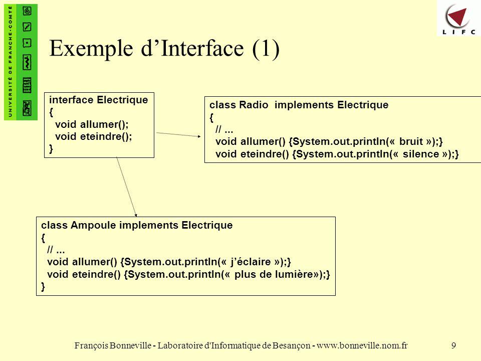 François Bonneville - Laboratoire d'Informatique de Besançon - www.bonneville.nom.fr9 Exemple dInterface (1) interface Electrique { void allumer(); vo