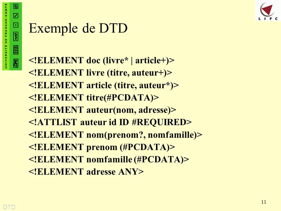 11 Exemple de DTD DTD