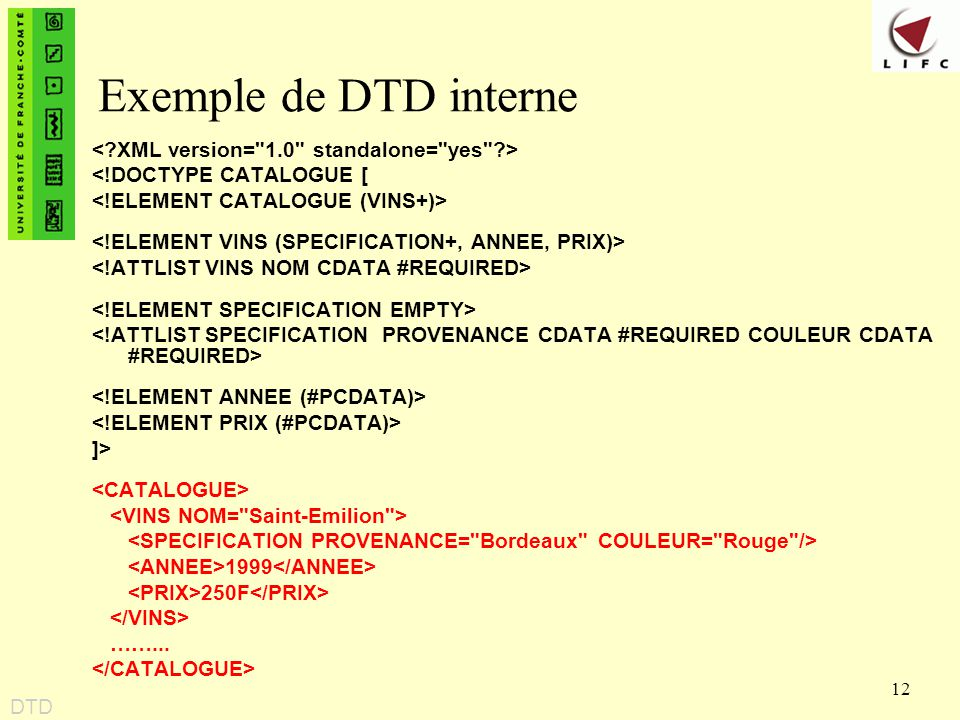 12 Exemple de DTD interne <!DOCTYPE CATALOGUE [ ]> 1999 250F ……... DTD