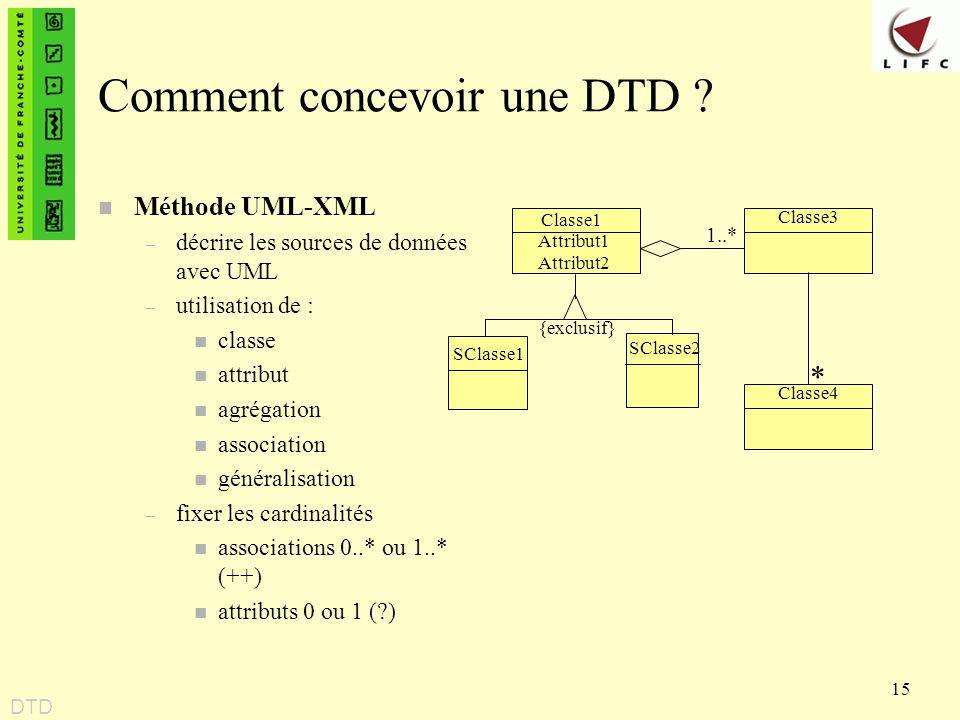 15 Comment concevoir une DTD ? n Méthode UML-XML – décrire les sources de données avec UML – utilisation de : n classe n attribut n agrégation n assoc