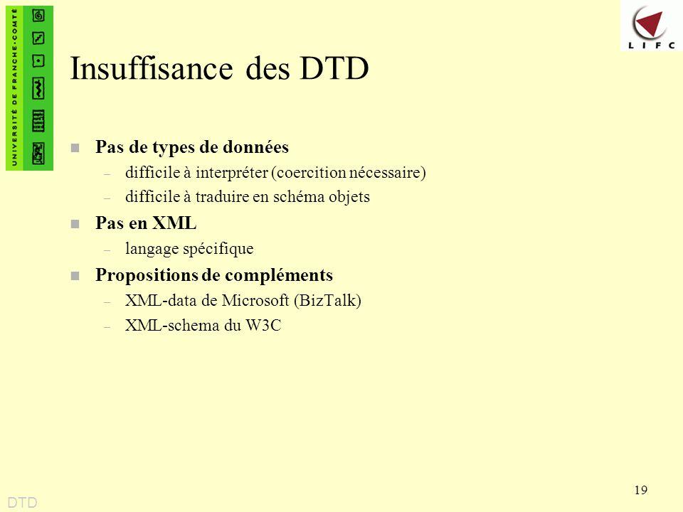 19 Insuffisance des DTD n Pas de types de données – difficile à interpréter (coercition nécessaire) – difficile à traduire en schéma objets n Pas en X