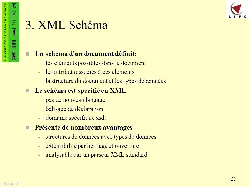 20 3. XML Schéma n Un schéma d'un document définit: – les éléments possibles dans le document – les attributs associés à ces éléments – la structure d