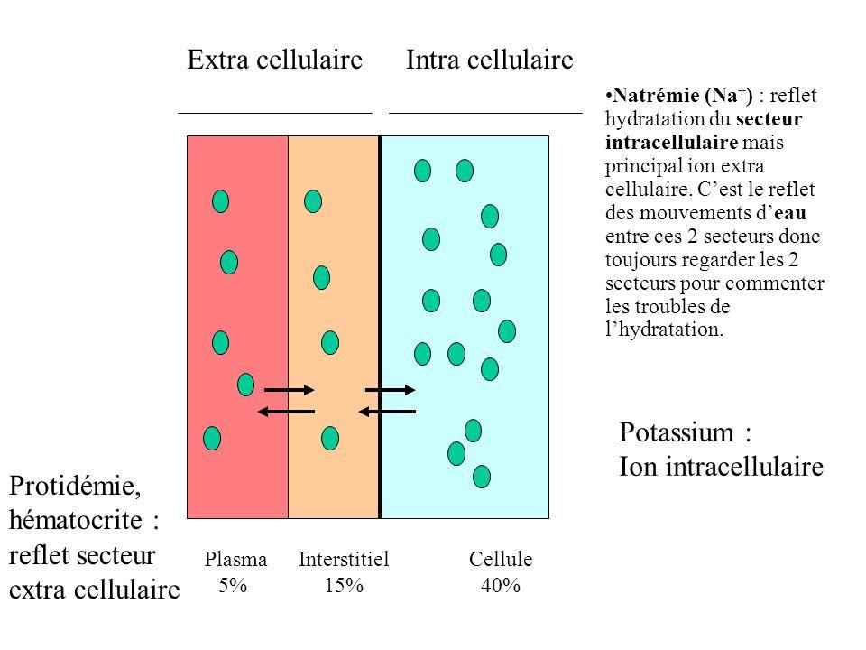 Plasma 5% Interstitiel 15% Cellule 40% Extra cellulaireIntra cellulaire Natrémie (Na + ) : reflet hydratation du secteur intracellulaire mais principa
